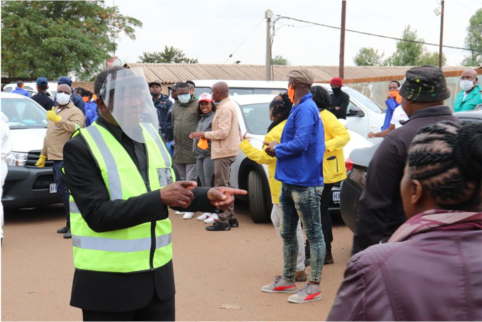 Residents in the Boipatong and Sebokeng hostels handed sanitizers